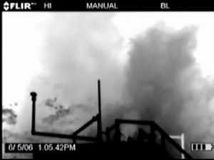 Condensate fumes seen through infrared camera