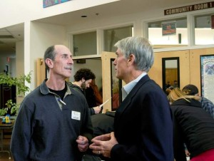 Pitkin County Commissioner George Newman and U.S. Sen. Mark Udall at an April 17 meeting on the illegal leases. Photo by John Stroud/Glenwood Post Independent.